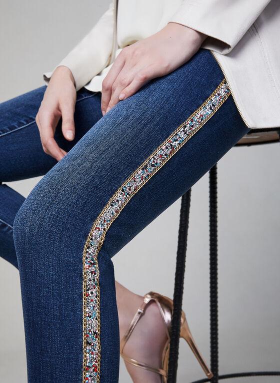 Crystal Trim Slim Leg Jeans, Blue, hi-res