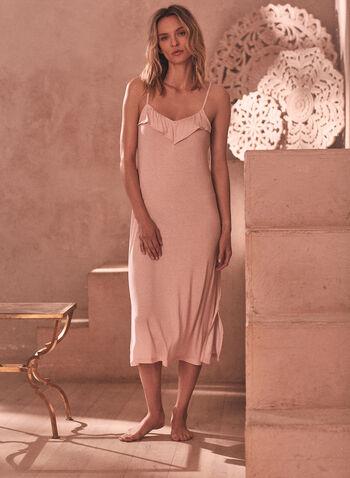 Dot Print Ruffle Nightgown, Beige,  spring summer 2021, sleepwear, pj, pyjama, nightgown, nightshirt, spaghetti strap, ruffle, dot print, v neck, soft, comfort