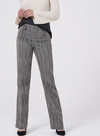 Herringbone Wide Leg Pants, Black, hi-res