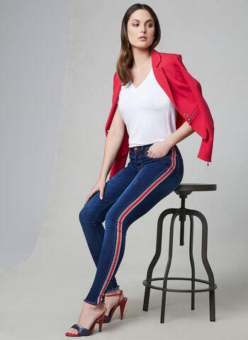 Frank Lyman - Contrast Trim Slim Leg Jeans, Blue, hi-res