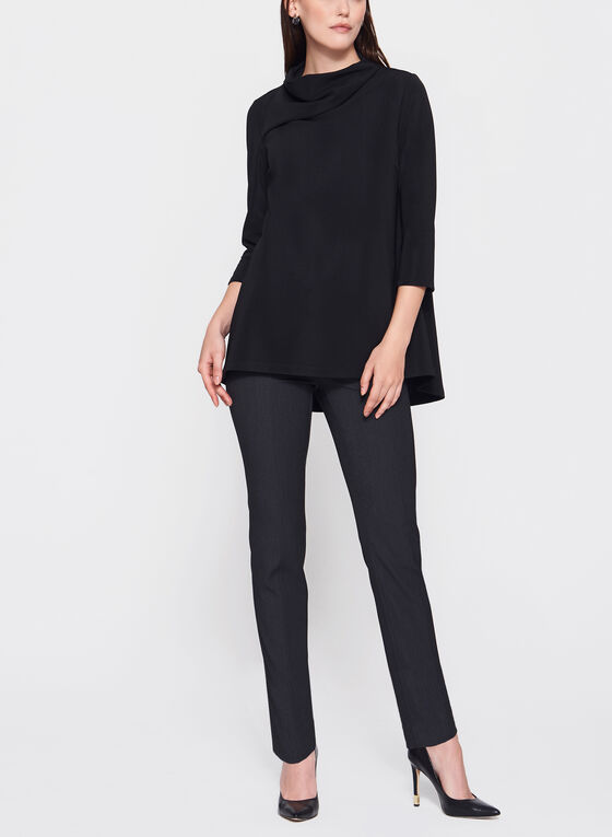 ¾ Sleeve Drape Neck Top, Black, hi-res