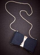 Pochette à paillettes avec boucle métallique, Bleu