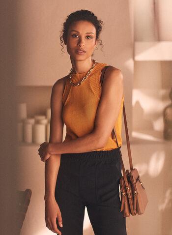Sleeveless Knit Tank, Yellow,  top, tank, sleeveless, knit, round neck, spring summer 2020