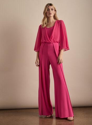 Joseph Ribkoff - Combinaison bi-matière, Rose,  printemps été 2020, combinaison, mousseline, jersey, drapé, cache-cœur, manches 3/4, jersey