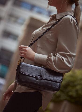 Crocodile Motif Handbag, Black,  fall 2021, accessories, accessory, handbag, shoulder bag, tote bag, purse, bag, rectangular, crocodile, vegan leather, faux leather, removable straps, 2 straps, flap, link, closure