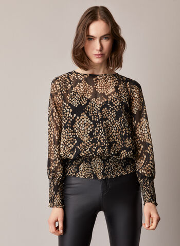 Abstract Snake Print Blouse, Black,  top, blouse, snake print, dotted, abstract, long sleeves, smocked, boat neck, chiffon, fall winter 2020