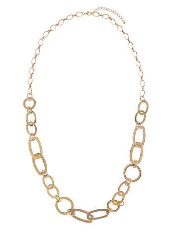 Elongated Chain Link Necklace , Gold, hi-res