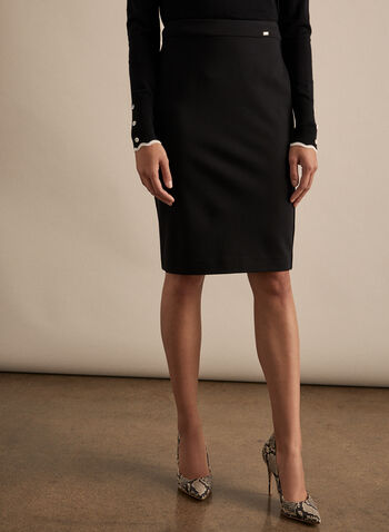 Ponte de Roma Pencil Skirt, Black,  skirt, pencil, Ponte de Roma, spring 2020