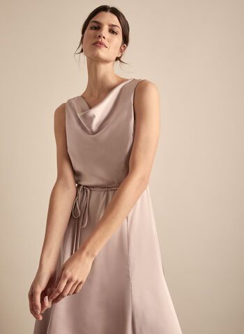 Cowl Neck Satin Dress, Pink,  spring summer 2020, sleeveless, cocktail dress, satin, sharkbite hem, cowl neck