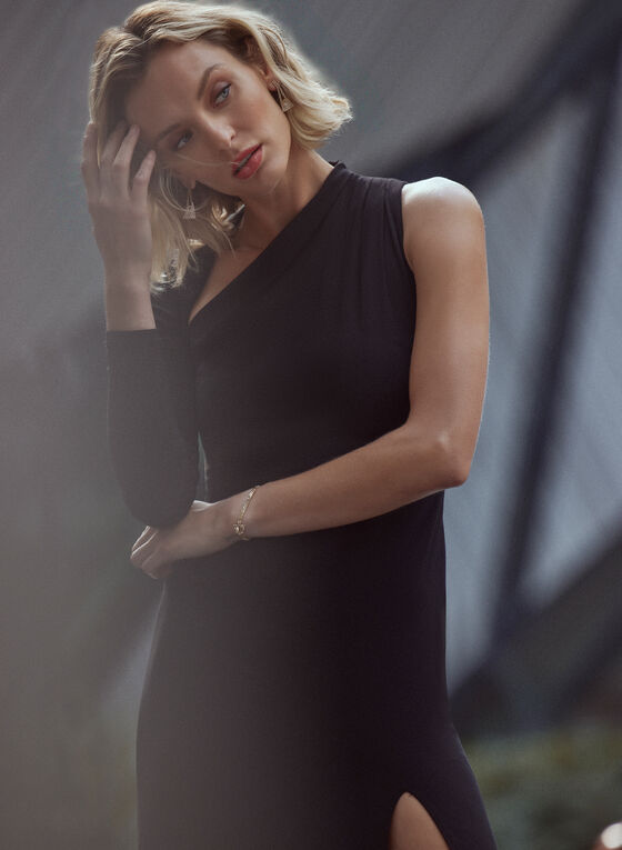 Asymmetric Neckline Dress, Black