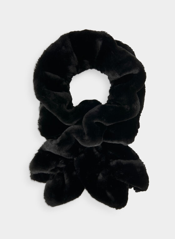 Faux Fur Crossover Scarf, Black
