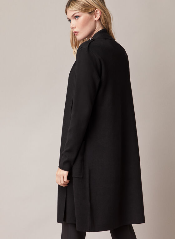 Button Detail Open Front Cardigan, Black
