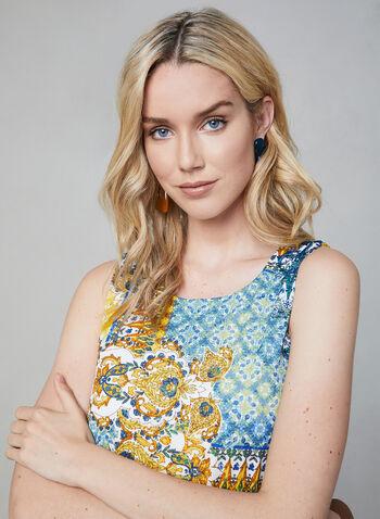 Maggy London - Robe à imprimé mosaïque, Bleu, hi-res
