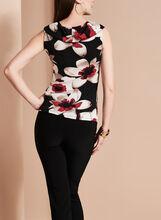 Sleeveless Floral Print Top, Black, hi-res