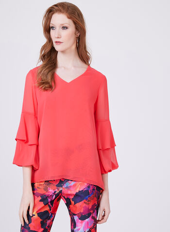 Tiered Bell Sleeve Solid Colour Chiffon Blouse, Pink, hi-res