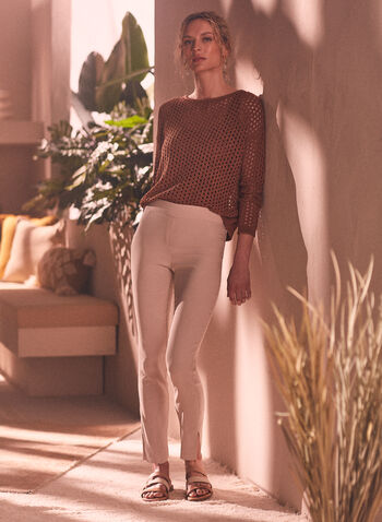 Open Weave Knit Sweater, Brown,  sweater, knit, open knit, open weave, long sleeves, boat neck, spring summer 2021