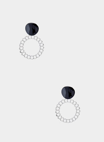 Chain Link Dangle Earrings, Black,  tiered, buttons, fall 2019, winter 2019