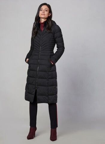 Bernardo - Long Quilted Coat, Black,  coat, long, quilted, pockets, storage bag, hood, fall 2019, winter 2019