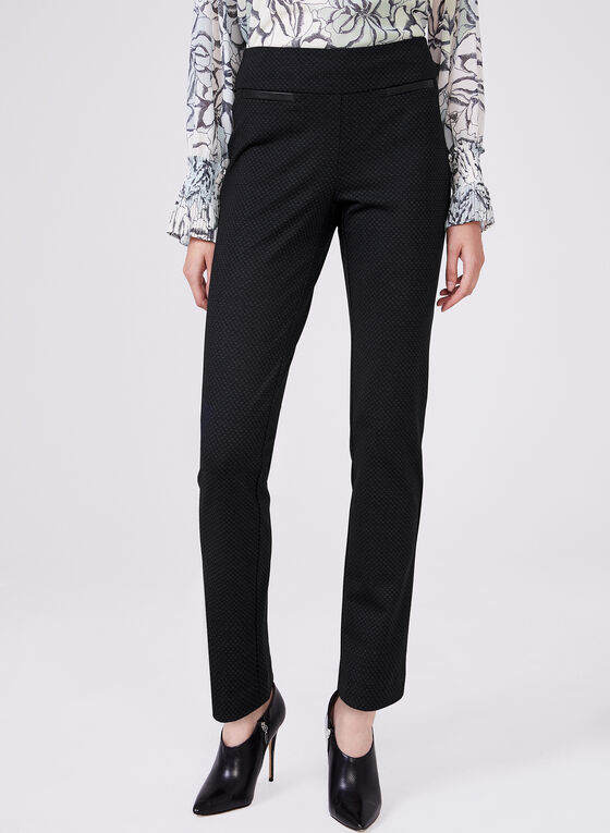 Madison Bird's Eye Print Pants, Black