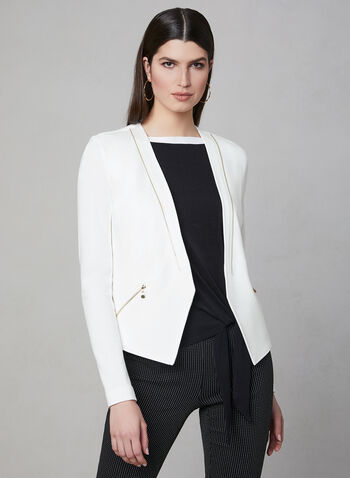 Vex - Zipper Trim Jacket, Off White, hi-res,  Vex, long sleeves, open front, jacket, spring 2019