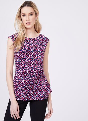 Dot Print Sleeveless Top, Multi, hi-res