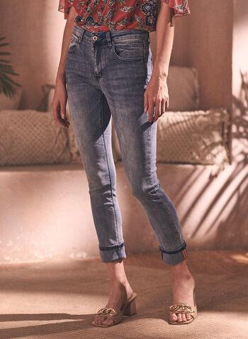 Charlie B - Jean à jambe étroite et ourlet replié, Bleu,  jean, charlie b, taille mi-haute, jambe étroite, bouton, glissière, poches, rivets métalliques, ourlet replié, denim extensible, délavé, printemps été 2021