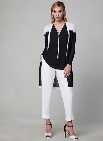 Haut sans manches zippé, Noir, hi-res,  haut, sans manches, zip, col V, crêpe, contrastant, drapé, printemps 2019