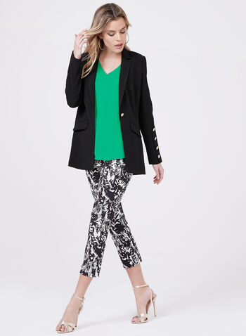 Pull-On Leaf Print Capris, Black, hi-res