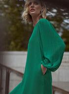 Puffed Sleeve Boat Neck Dress, Green