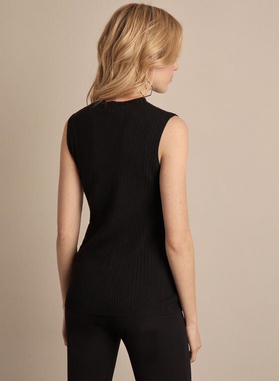 Sleeveless Ribbed Knit Top, Black
