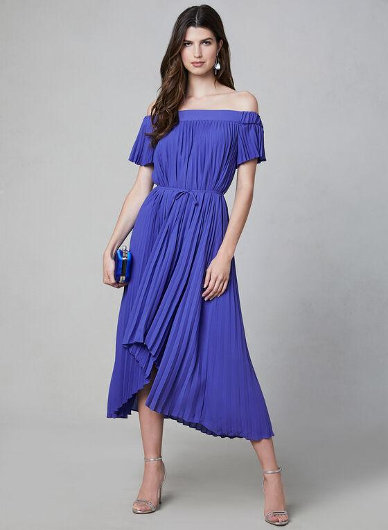 Maggy London - Robe plissée à épaules dénudées, Bleu