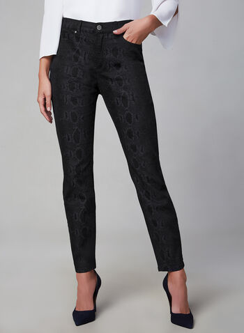 Snake Print Slim Leg Jeans, Black,  jeans, slim leg, snakeskin, pockets, fall 2019, winter 2019