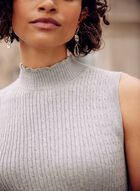 Sleeveless Cable Knit Detail Top, Grey