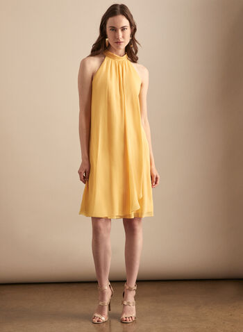 Chiffon Mock Neck Dress, Yellow,  cocktail dress, mock neck, chiffon, keyhole, drape, sleeveless, spring summer 2020