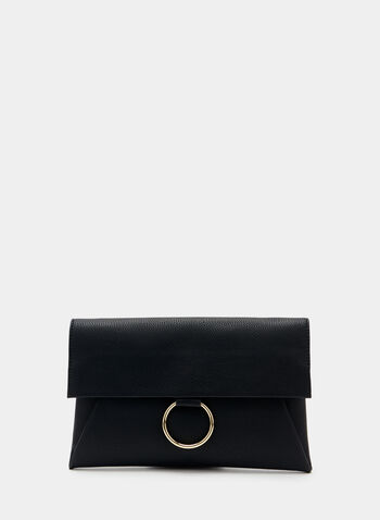 Faux Suede Envelope Clutch, Black, hi-res
