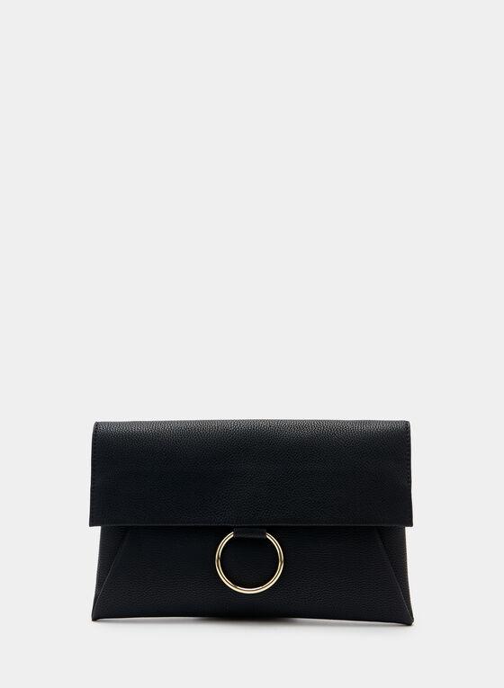 Faux Suede Envelope Clutch, Black, hi-res