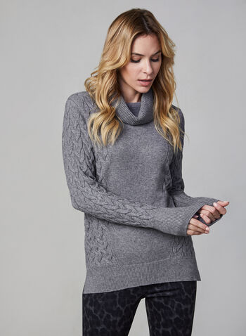 Cowl Neck Sweater, Grey,  fall winter 2019, straight leg, knit, long sleeve, cowl neck