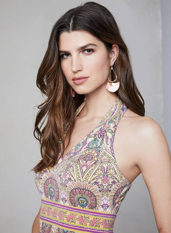 Mandala Print Maxi Dress, Yellow, hi-res,  sleeveless, jersey, open back, empire waist, spring 2019, summer 2019