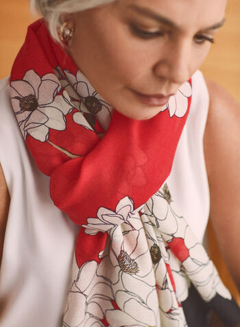 Floral Print Lightweight Scarf, Red,  accessories, scarf, lightweight, floral, 2-tone, spring summer 2021
