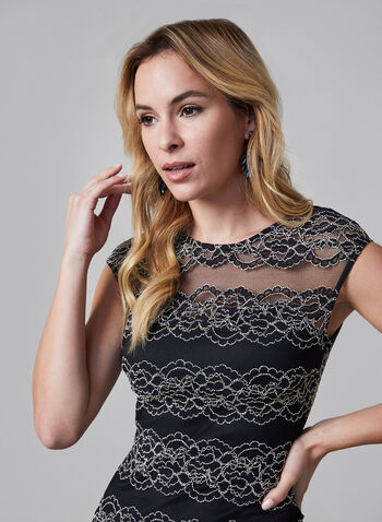 Kensie - Lace Sheath Dress, Black,  Kensie, dress, occasion dress, dress, cap sleeves, sheath, lace, fall 2019, winter 2019