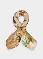 Foulard carré à motif floral, Jaune, hi-res