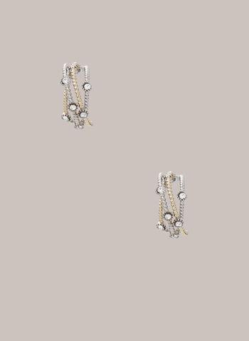 Créoles texturées bi-ton, Jaune,  boucles d'oreilles, créoles, texturée, rondelle, automne hiver 2020