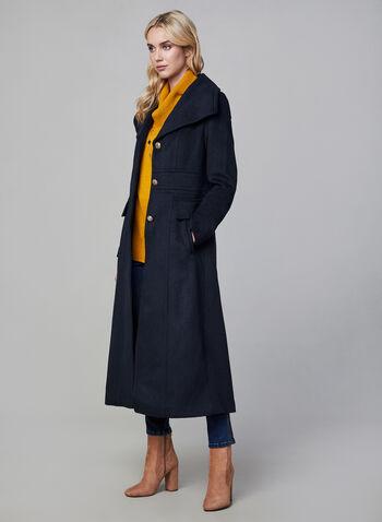 Karl Lagerfeld Paris - Military Wool Coat, Blue,  coat, wool, wool coat, long coat, designer coat, button coat, karl lagerfeld, winter 2019, fall 2019