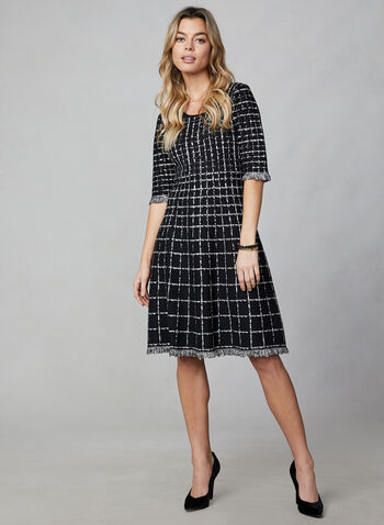 Plaid Sweater Knit Dress, Black,  dress, day dress, plaid, fit and flare, elbow sleeves, fall 2019, winter 2019