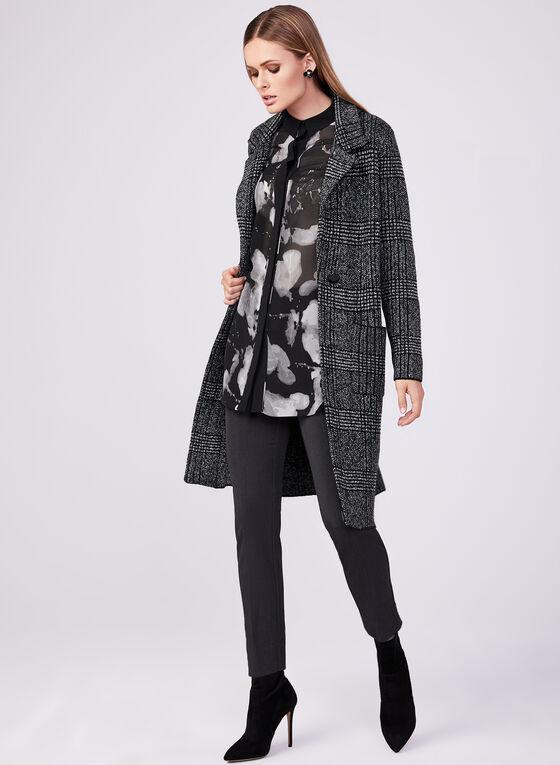 Plaid Print Sweater Jacket, Black, hi-res