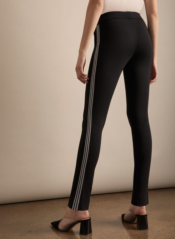 Contrast Trim Leggings, Black