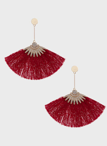 Crystal Pavé Inverted Fan Pendants, Red, hi-res
