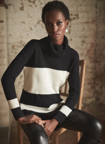 Two Tone Turtleneck Sweater, Black,  fall winter 2020, knit, sweater, long sleeves, turtleneck, contrasting, two-tone, blocks, holiday