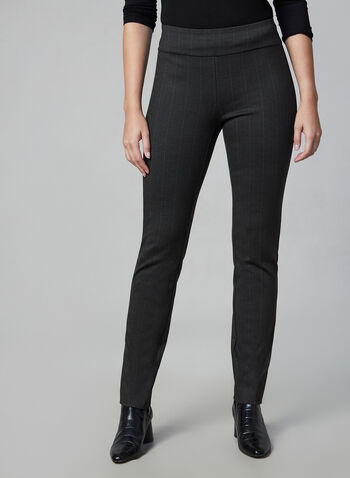 Madison Pinstripe Print Pants, Grey,  slim leg, high rise, pull-on, stripe print, slim fit, slim leg, fall 2019, winter 2019