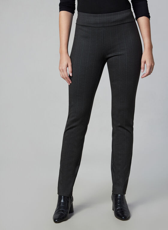 Madison Pinstripe Print Pants, Grey